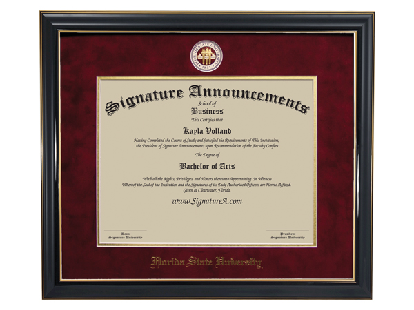 Sculpted Foil Seal /& Name Graduation Diploma Frame 16 x 16 Cherry Signature Announcements Smith-College-School-for-Social-Work Undergraduate