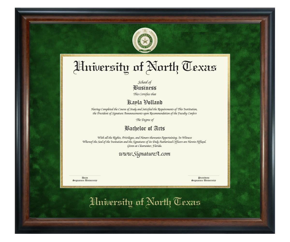 Signature Announcements University of North Texas Name /& Tassel UNT Cherry, 20 x 20 Undergraduate and Graduate Graduation Diploma Frame with Sculpted Foil Seal