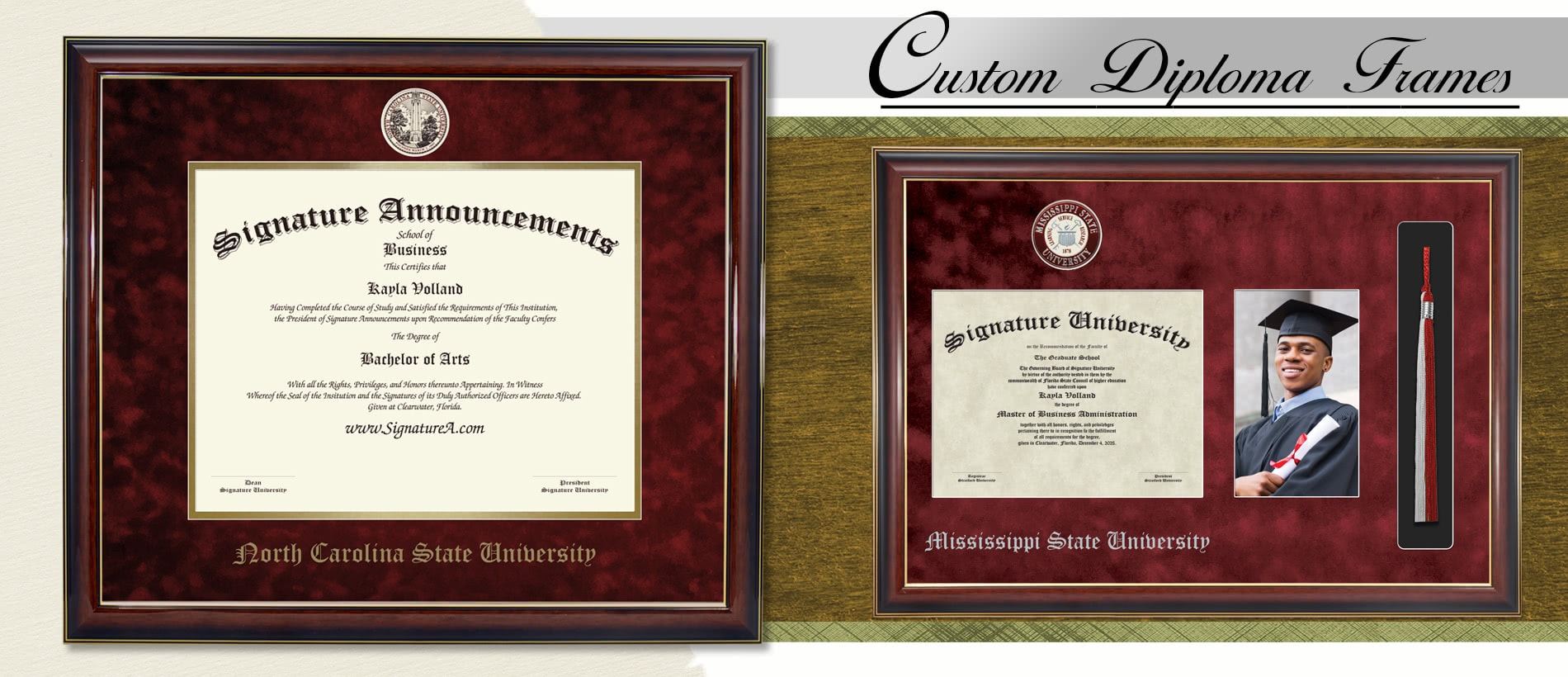 UH Cherry, 16 x 16 Undergraduate and Graduate Graduation Diploma Frame with Sculpted Foil Seal Signature Announcements University of Houston