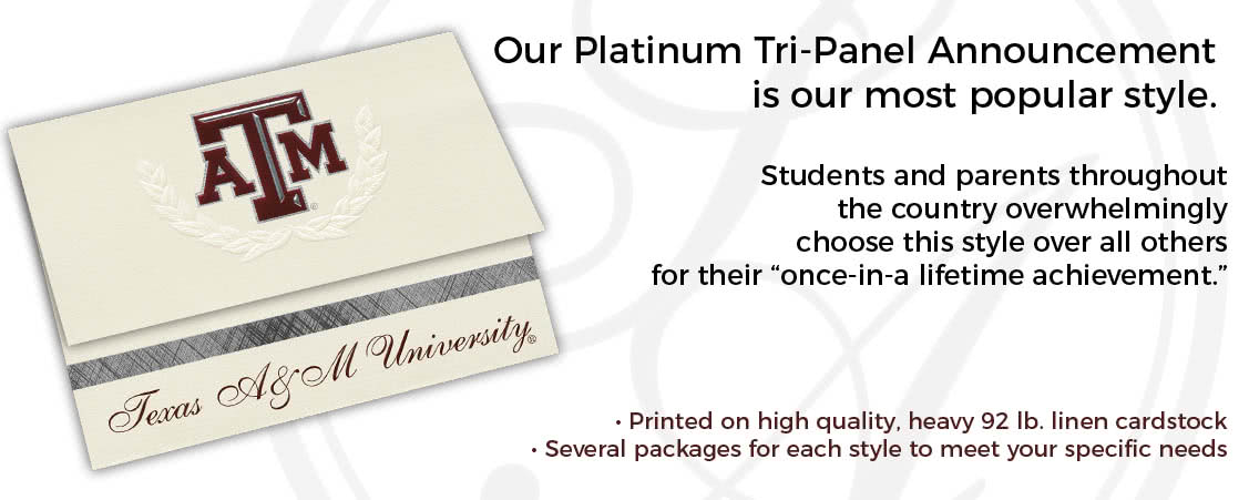 Our Platinum Tri-Panel Announcement is our most popular style.