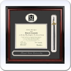 Signature Announcements Minot-State-University Sculpted Foil Seal Graduation Diploma Frame 16 x 16 Gold Accent Gloss Mahogany