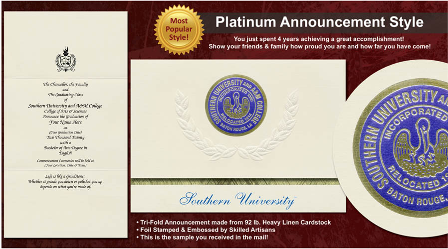 Southern University and A&M College Graduation Announcements