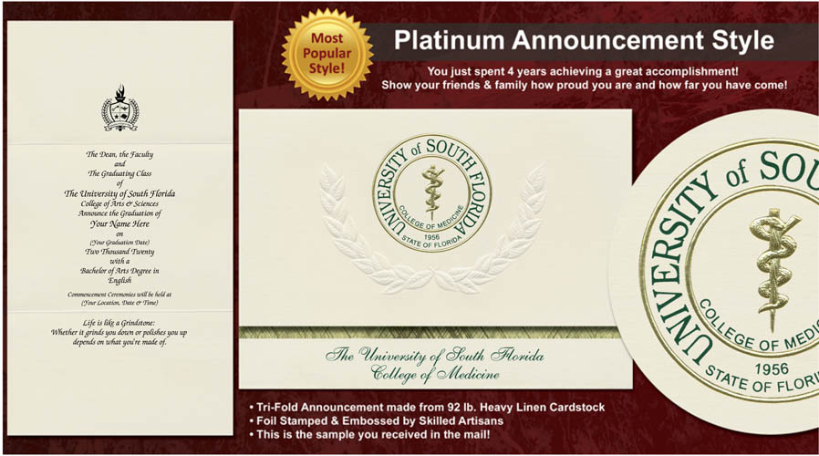 University of South Florida College of Medicine Graduation Announcements