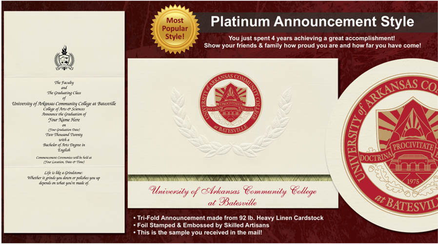 University of Arkansas Community College at Batesville Graduation Announcements