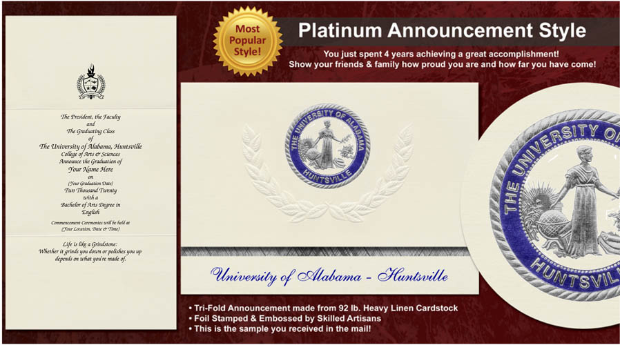 The University of Alabama in Huntsville Graduation Announcements