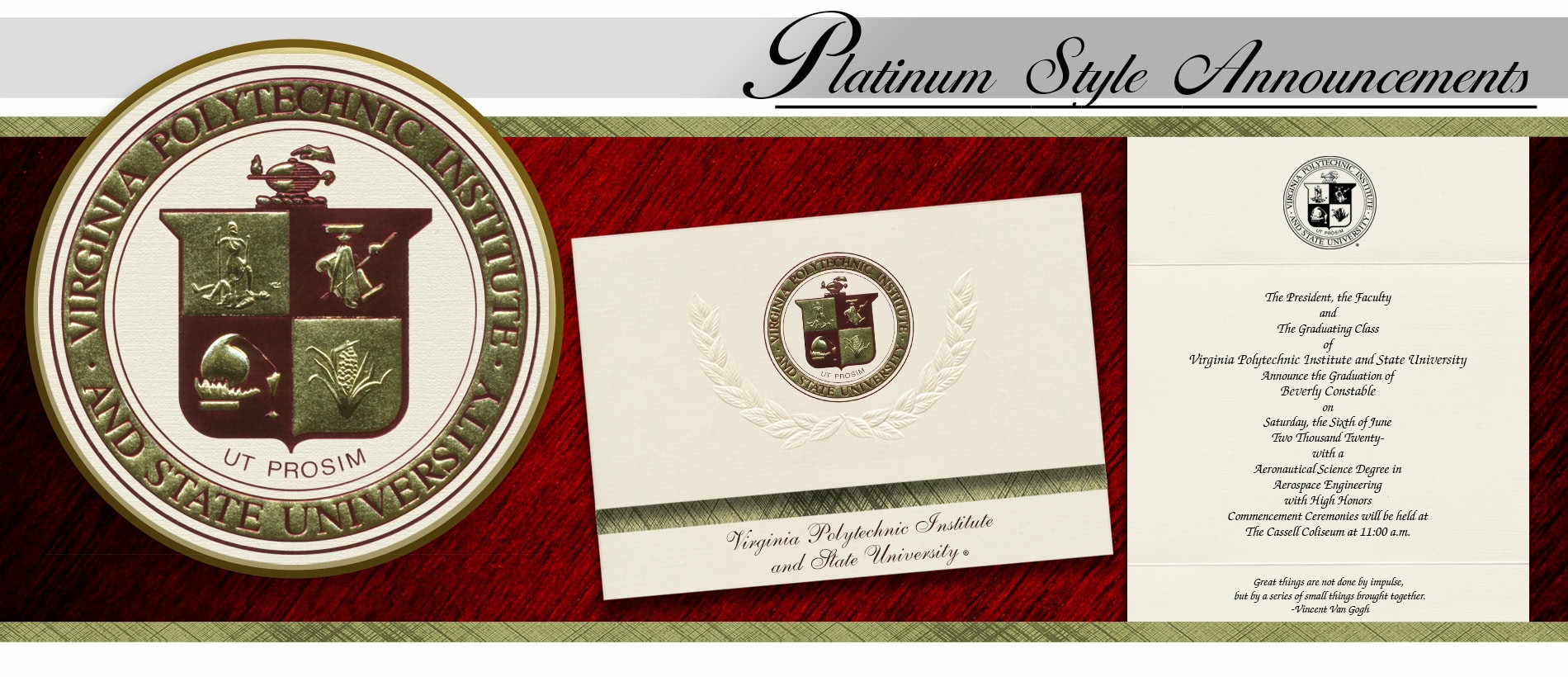 Virginia Polytechnic Institute and State University Graduation Announcements