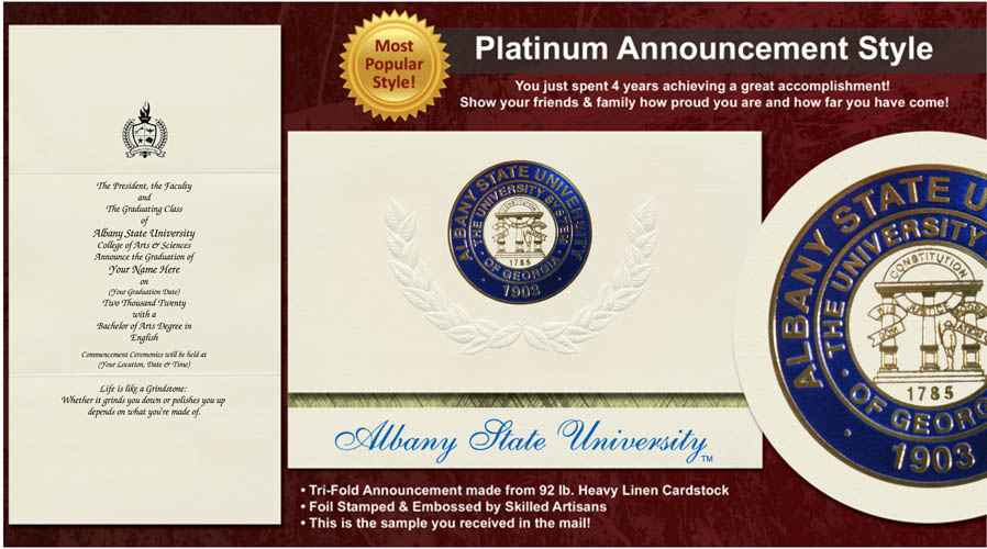 Albany State University Graduation Announcements