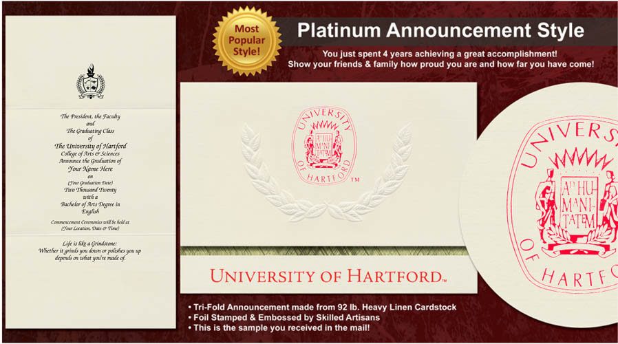 University of Hartford Graduation Announcements