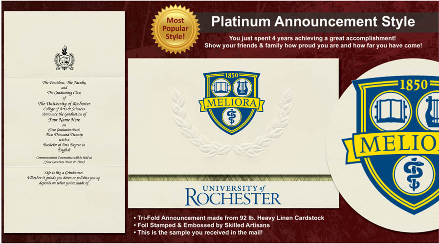 University of Rochester Graduation Announcements