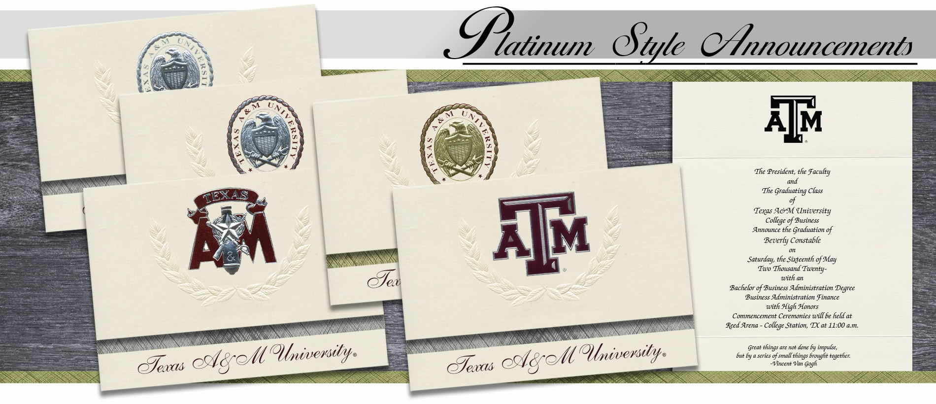 Texas A&M University Graduation Announcements