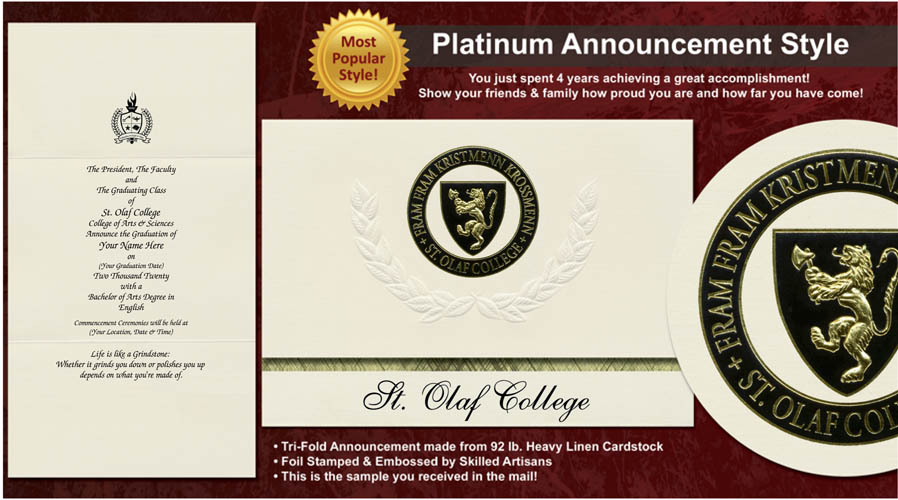 St. Olaf College Graduation Announcements