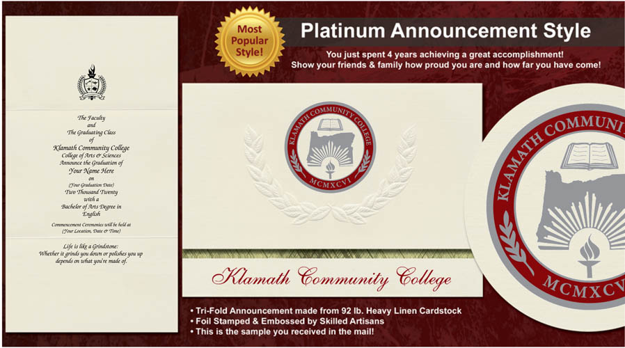 Klamath Community College Graduation Announcements