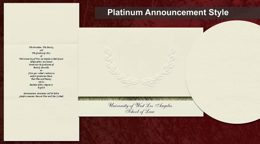 The University of West Los Angeles School of Law Graduation Announcements