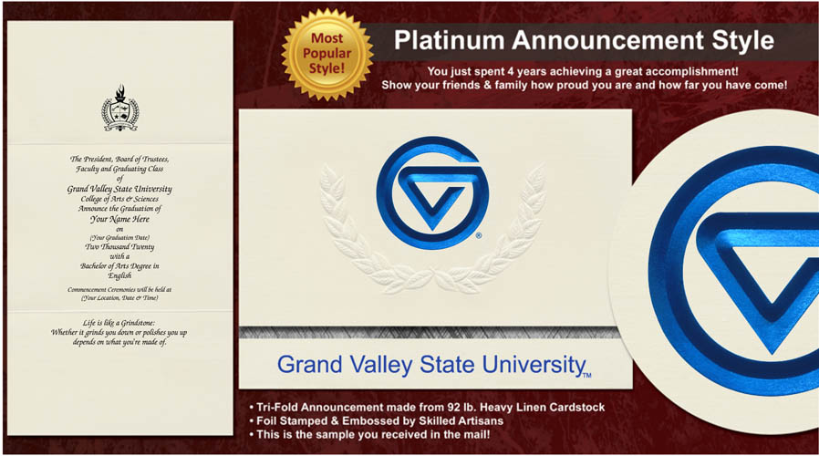 Grand Valley State University Graduation Announcements