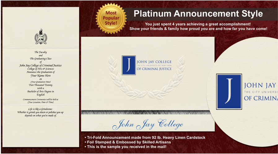 John Jay College of Criminal Justice Graduation Announcements