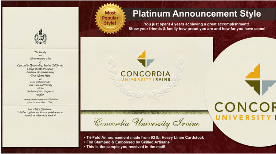 Concordia University Irvine Graduation Announcements