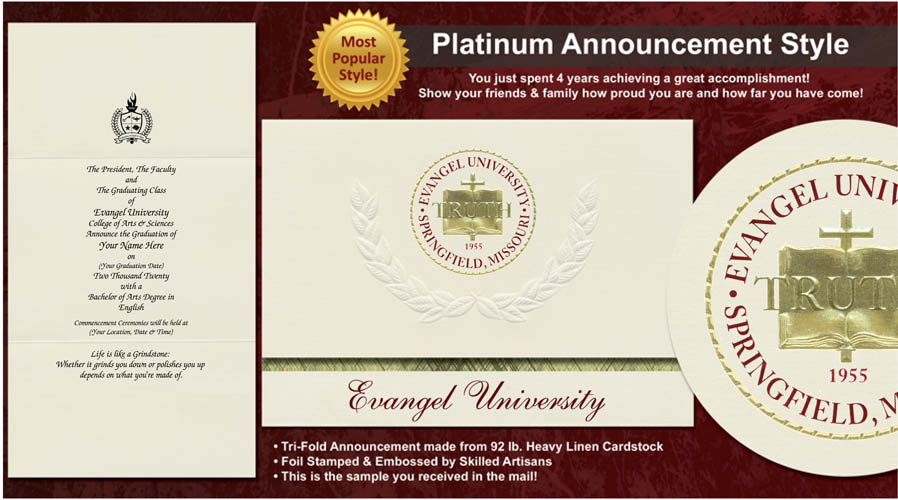 Evangel University Graduation Announcements