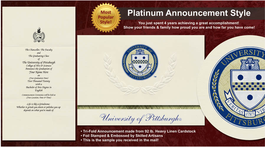 University of Pittsburgh Graduation Announcements