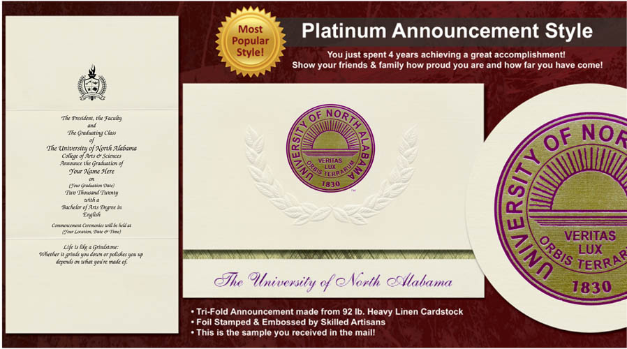 University of North Alabama Graduation Announcements