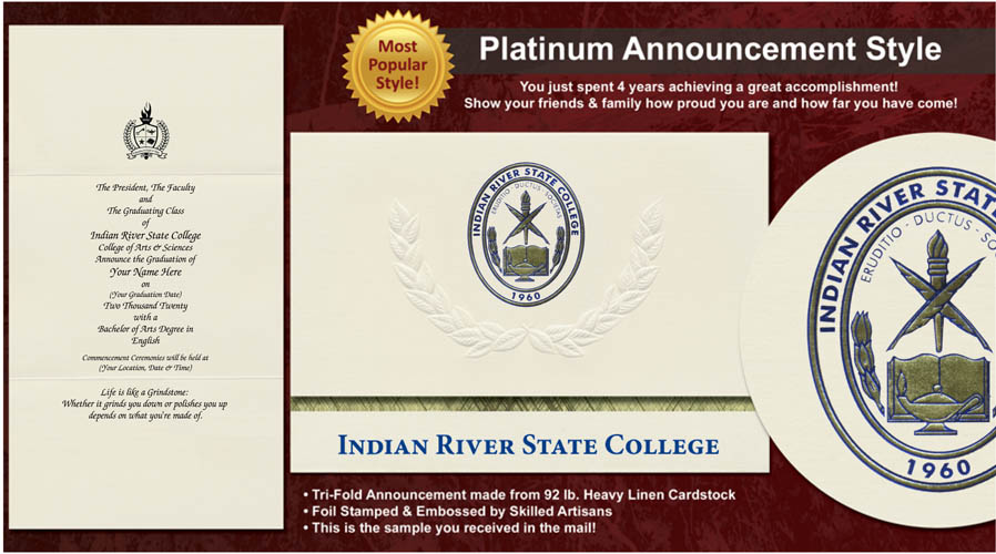 Indian River State College Graduation Announcements