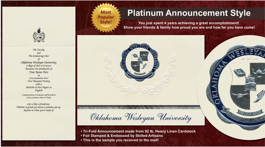 Oklahoma Wesleyan University Graduation Announcements