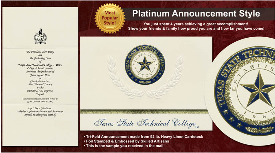 Texas State Technical College Waco Graduation Announcements