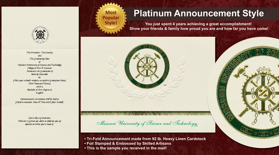 Missouri University of Science and Technology Graduation Announcements