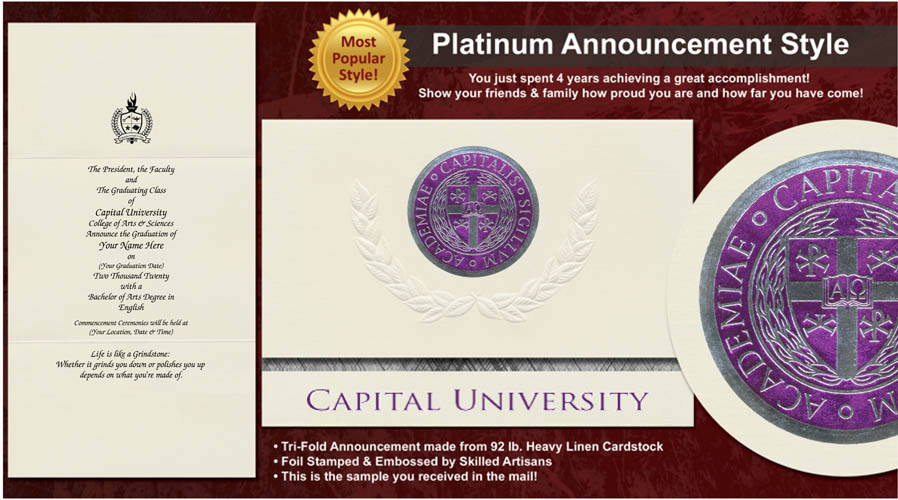 Capital University Graduation Announcements