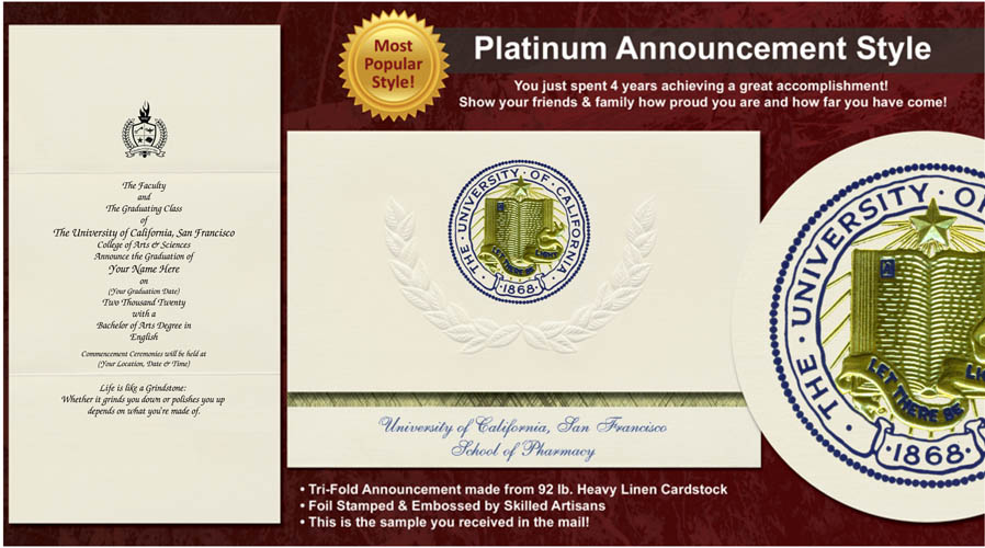 University of California, San Francisco College of Pharmacy Graduation Announcements