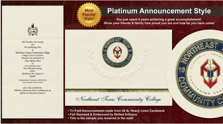 Northeast Texas Community College Graduation Announcements