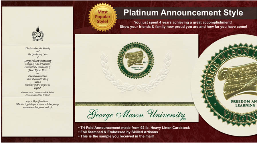 George Mason University Graduation Announcements