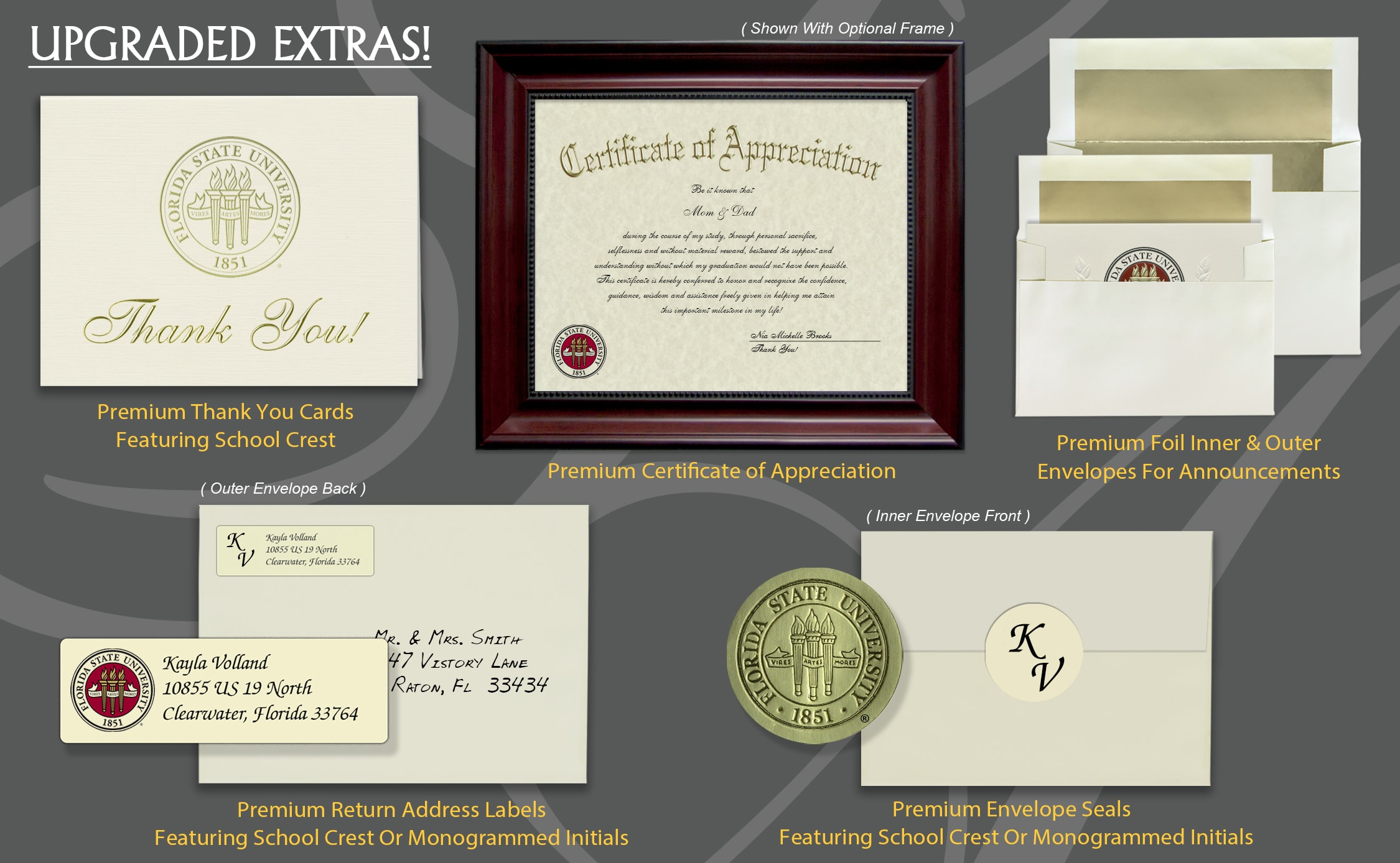 Signature Announcements Florida-Gulf-Coast-University Undergraduate Sculpted Foil Seal Graduation Diploma Frame 16 x 16 Gold Accent Gloss Mahogany