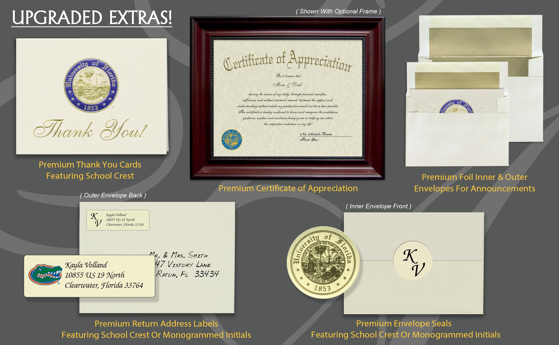 Signature Announcements University-of-Florida-Warrington-College-of-Business Undergraduate Sculpted Foil Seal /& Name Graduation Diploma Frame 20 x 20 Gloss Mahogany with Gold Accent